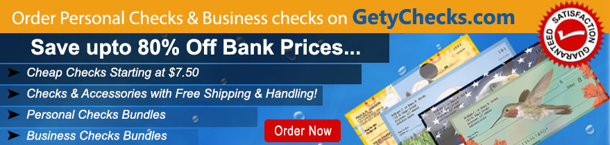 Order Personal Checks on GetyChecks.com upto 80% Off Bank Price