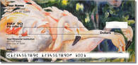 Get pictures of flamingos render in watercolors on our personal checks. Designs by artist Kay Smith. Click here to order!